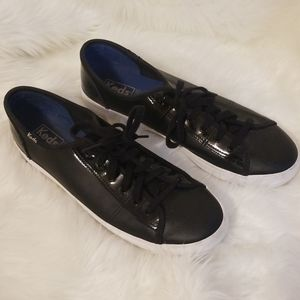 Keds black leather shoes